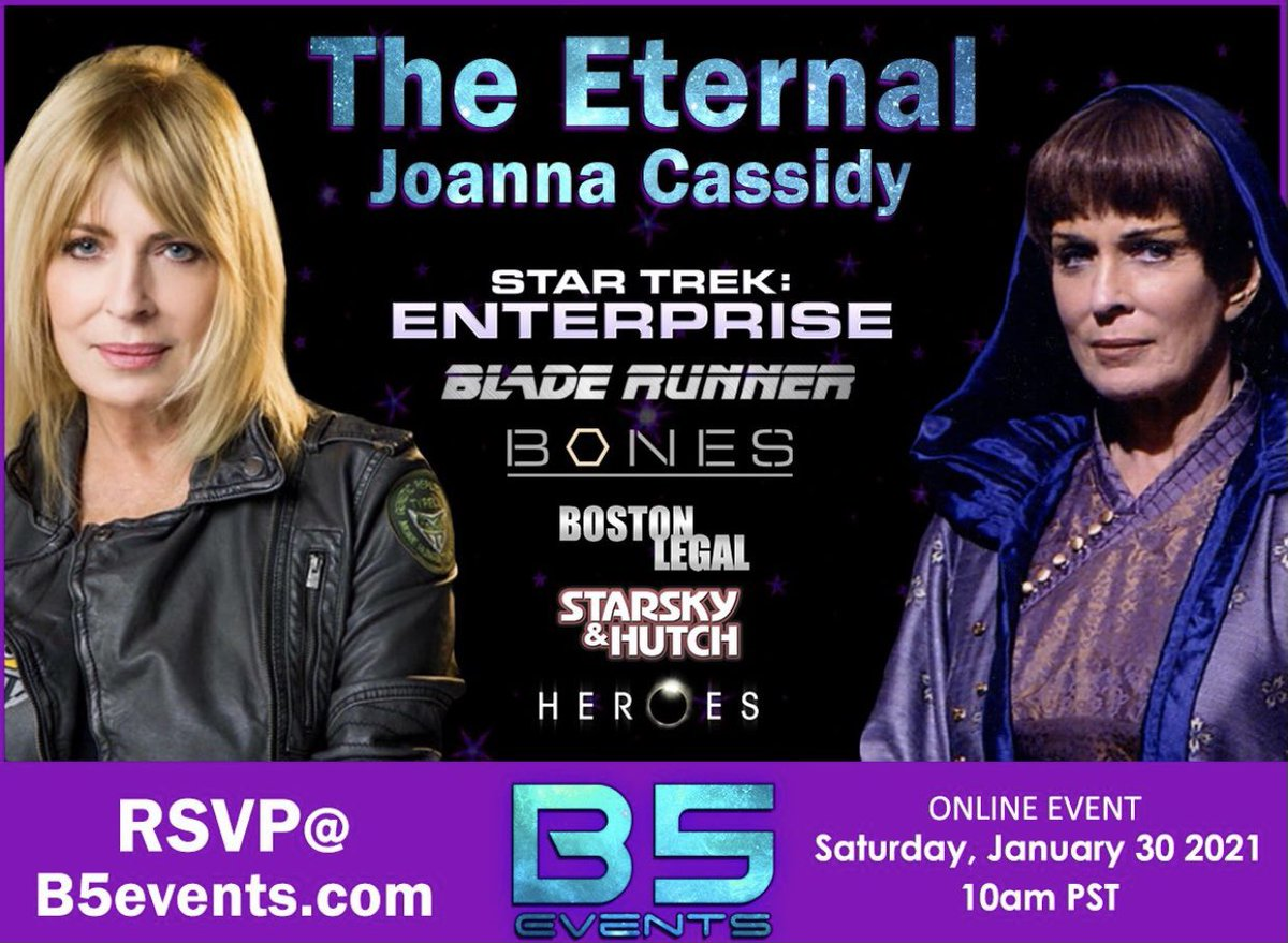 Announcing The Eternal with Joanna Cassidy, the next B5Events special event! January 30th ONLINE! 10am PST Los Angeles. REPLAY sent to all ticket holders. PLUS 9am Open House for all ticket holders. & a VIP Party for personal connection with Joanna! LIMITED TIX. Early Bird price. https://t.co/L6PujBAjrW