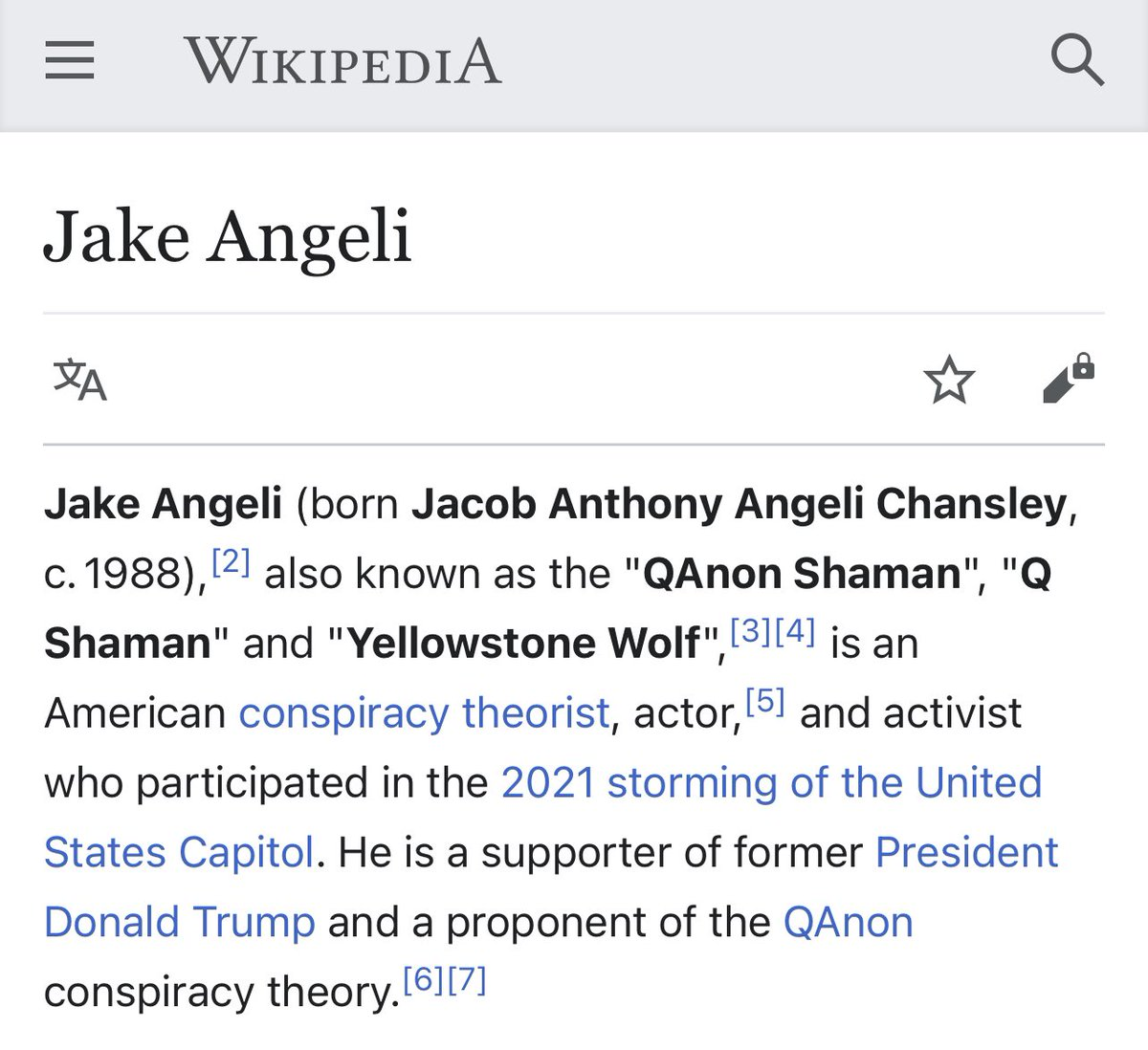Jake Angeli (Jacob Chansley) on Wikipedia shows he's an actor, activist, and conspiracy theorist. AN ACTOR??? NOT hmm..maybe A TERRORIST? The page cannot be edited to correct it. Dumbfounded. https://t.co/86TD3Z656u