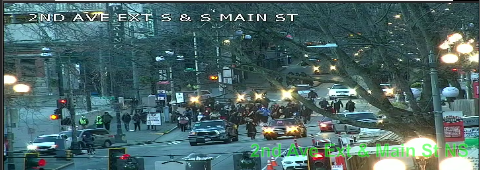 UPDATE: March on 2nd Ave at Yesler Way blocking all lanes moving SB. Use caution and seek alternate routes. https://t.co/YbqBPnaBaW