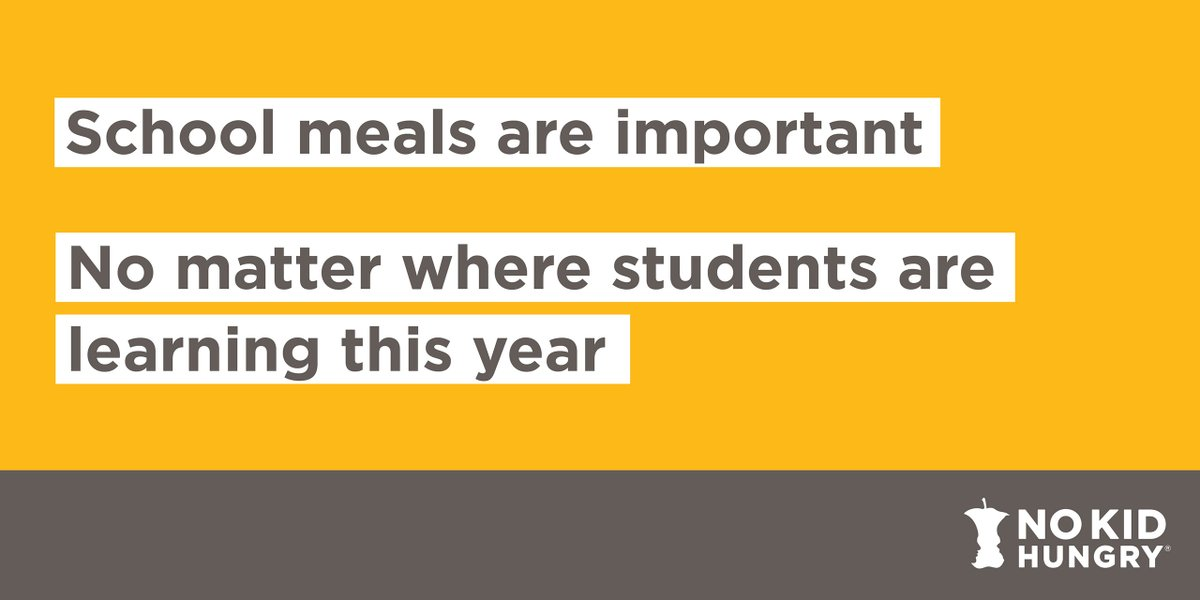 Although this school year looks different than usual, schools and community groups are still committed to ensuring kids have the nutrition they need to learn. Find free meals in your community with #NoKidHungry's Free Meals Finder: