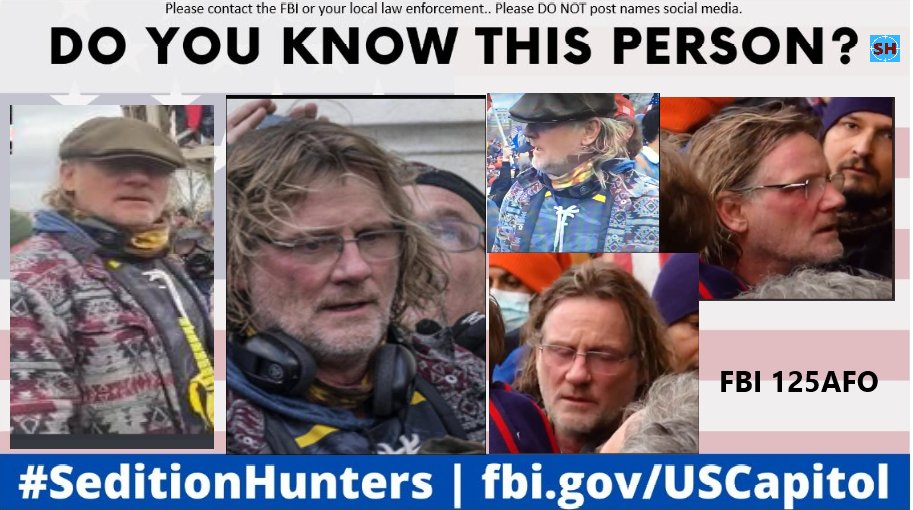 Please share across all platforms. Do you Know this person?? Please contact the FBI with ID 125-AFO if you do! #SeditionHunters #DCRIOTS #CapitolRiot  #Doyouknow Please DO NOT post names on social media #fleecenazi