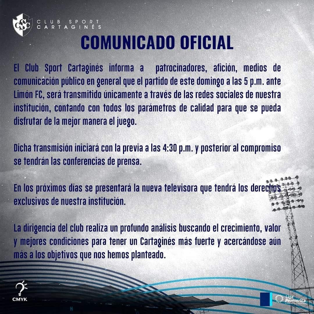 ¡𝐎𝐅𝐈𝐂𝐈𝐀𝐋!  Mediante un comunicado, el Club Sport Cartaginés ⚪🔵 anuncia que deja FUTV, los brumosos prácticamente son nueva ficha de Tigo Sports.   #somosfútbol