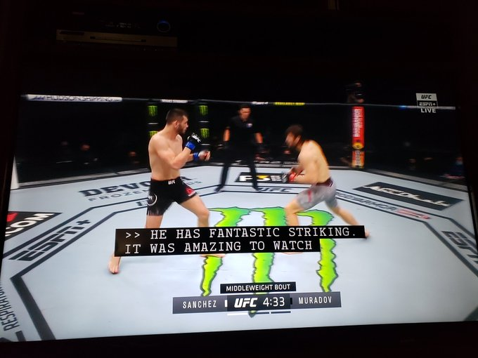 Watching the @ufc and looking forward to the main event! Whose going to win this fight @ElDirteSanchez