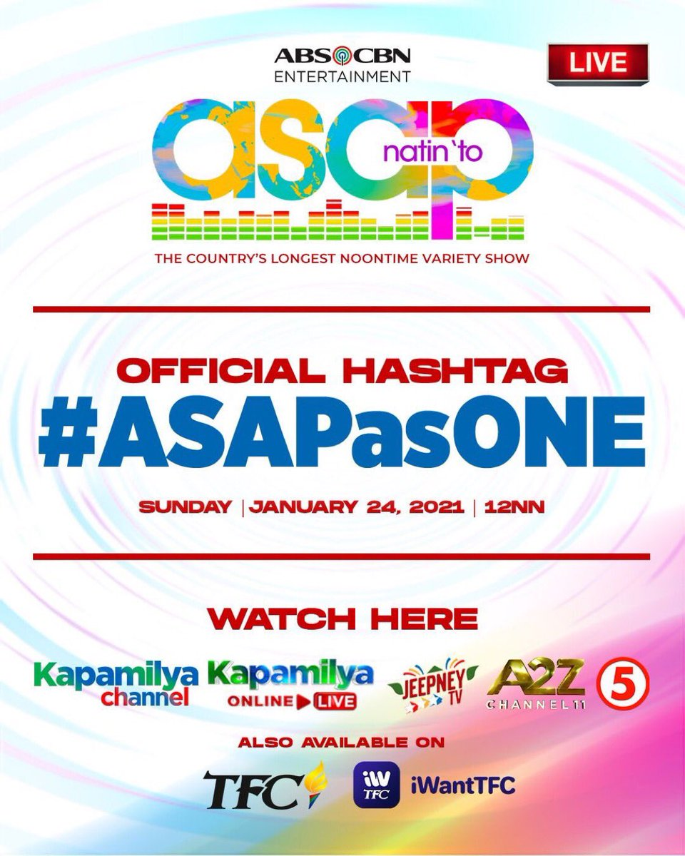 Mga Kapamilya, Mga Ka-A2Z at Mga Kapatid, Sama-sama tayo sa Ultimate Celebration with the best and brightest stars! Isang pamilya tayo sa ASAP Natin 'To, LIVE na LIVE mamaya! Maki-join using our official hashtag, #ASAPasONE