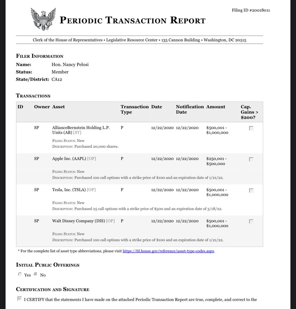 NEWS: In a new disclosure filing, it was revealed that House Speaker Nancy Pelosi on Dec 22, 2020 bought 25 $TSLA call options with a $500 strike price and an expiration date of 3/12/2022. She paid between $500k-$1M for the options.