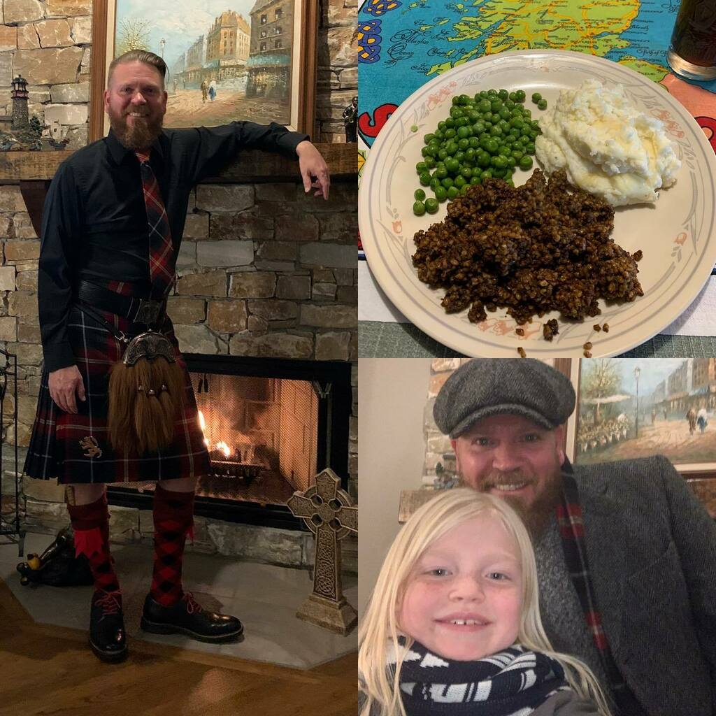 We couldn't celebrate Our annual Robert Burn's Birthday dinner @nicholsonspub tonight, so we stayed at home and celebrated. Haggis & mash with peas. Some Spey Tenne Scotch for the toast. Slainte! #burnsnight2021 #auldlangsyne #robertburns #scotland 🏴…
