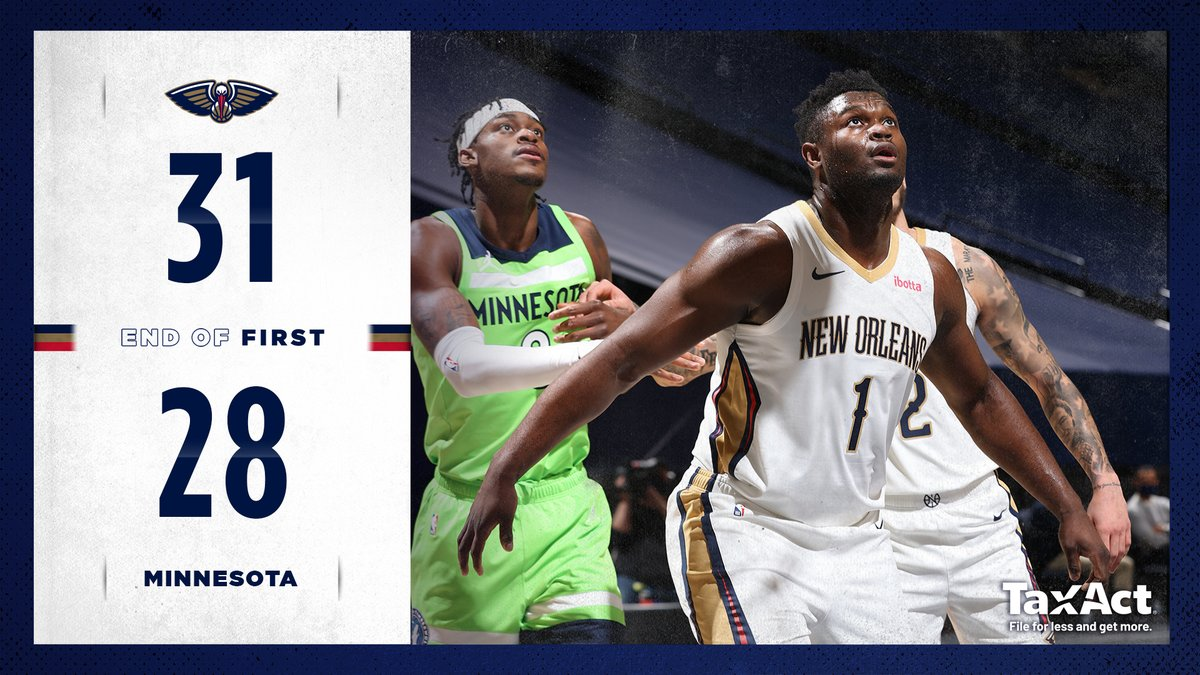 Pels on top at the end of the first!  #WontBowDown | @TaxAct https://t.co/QaMHKEVbwy