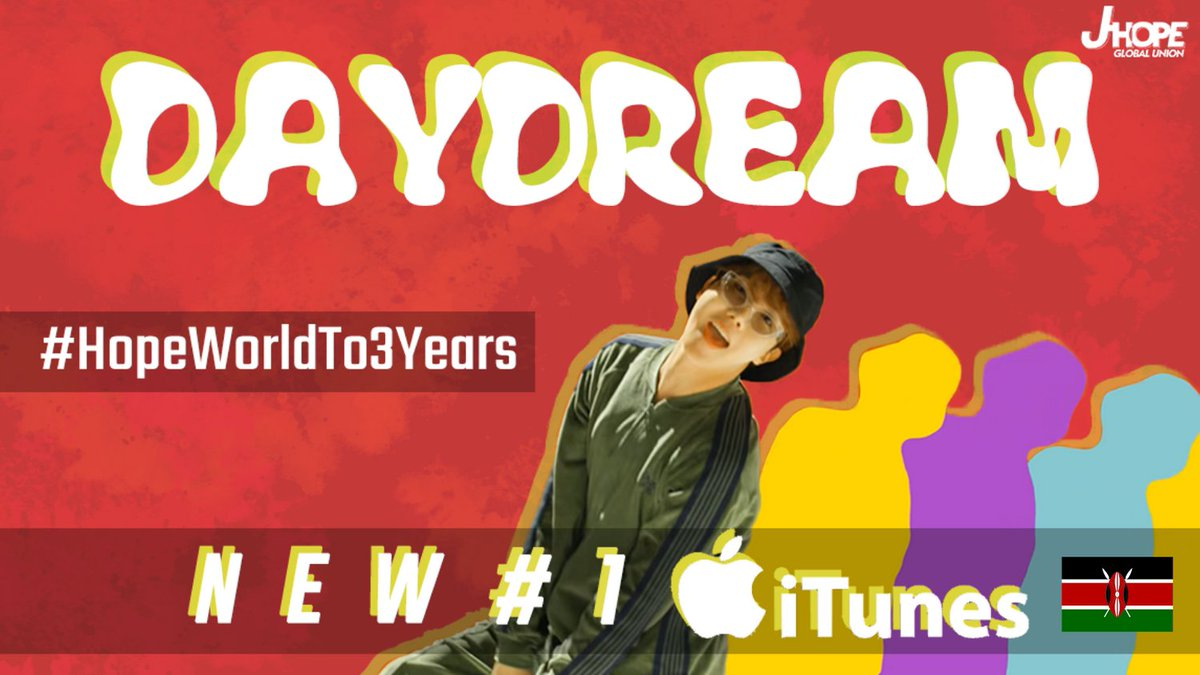 [ j-hope chart ]   🇰🇪#BTSARMY Daydream telah berhasil chart #1 on iTunes kenyan, Thank you for working hard and for all your help Kenyan ARMY @BTS_KENYA_ @FundsforJhope @JHOPE_TN 🎉  @BTS_twt #HopeWorldTo3Years -🍑