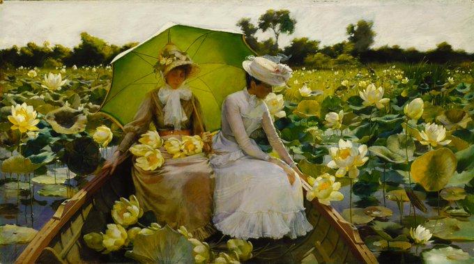 #GoodMorningTwitterWorld #SundayMorning #sundayvibes   Charles Courtney Curran ~ Lotus Lilies (1888)