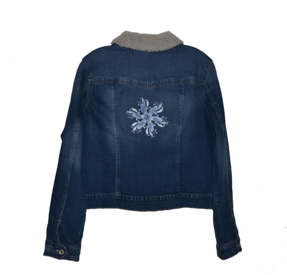 """""""Snowflake"""" Embroidered Denim Jacket *Free Shipping*   via @Etsy #jacket #snowflake #denim #womens #girls #coat #clothing #blue #outerwear #embroidery #jeans #ice #winter #apparel #snow #white #silver"""