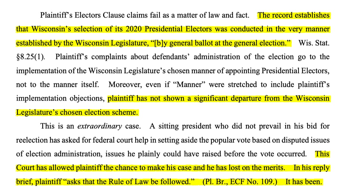 What this GOP congressman is saying is simply not true. The federal judge who dismissed the WI case explicitly ruled on the merits. If you don't believe me, here are the briefs and the actual court decision.