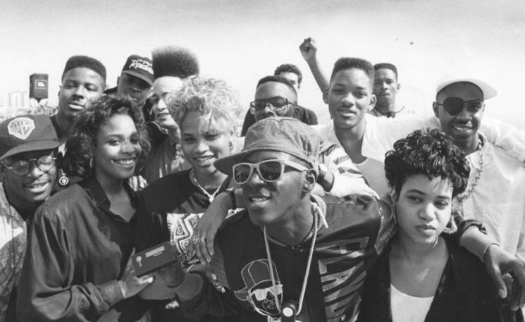 SNP, KNP, Hurby, P.E., Fresh Prince and Jazzy Jeff, and Slick Rick, boycotting the Grammys regarding not televising the Rap category, circa 1989. Fresh Prince & Jazzy Jeff becomes the first to win. SNP wins their first Grammy in '95. #SaltNPepaMovie #blackhistory