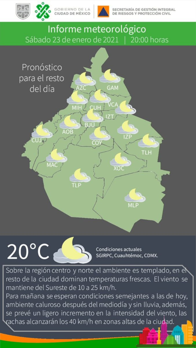 Esta noche el ambiente es #templado en el centro y norte, #fresco en el resto de la #CDMX. Mantente informado. #PronósticoDelTiempo #LaPrevenciónEsNuestraFuerza