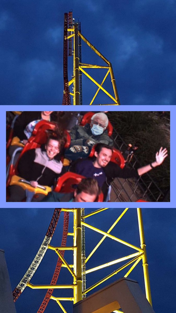 Morgan and I were looking through old park photos. Little did we know Bernie made it on Dragster and Rise! #BernieSits #berniesandersmeme #Rollercoaster #wdw