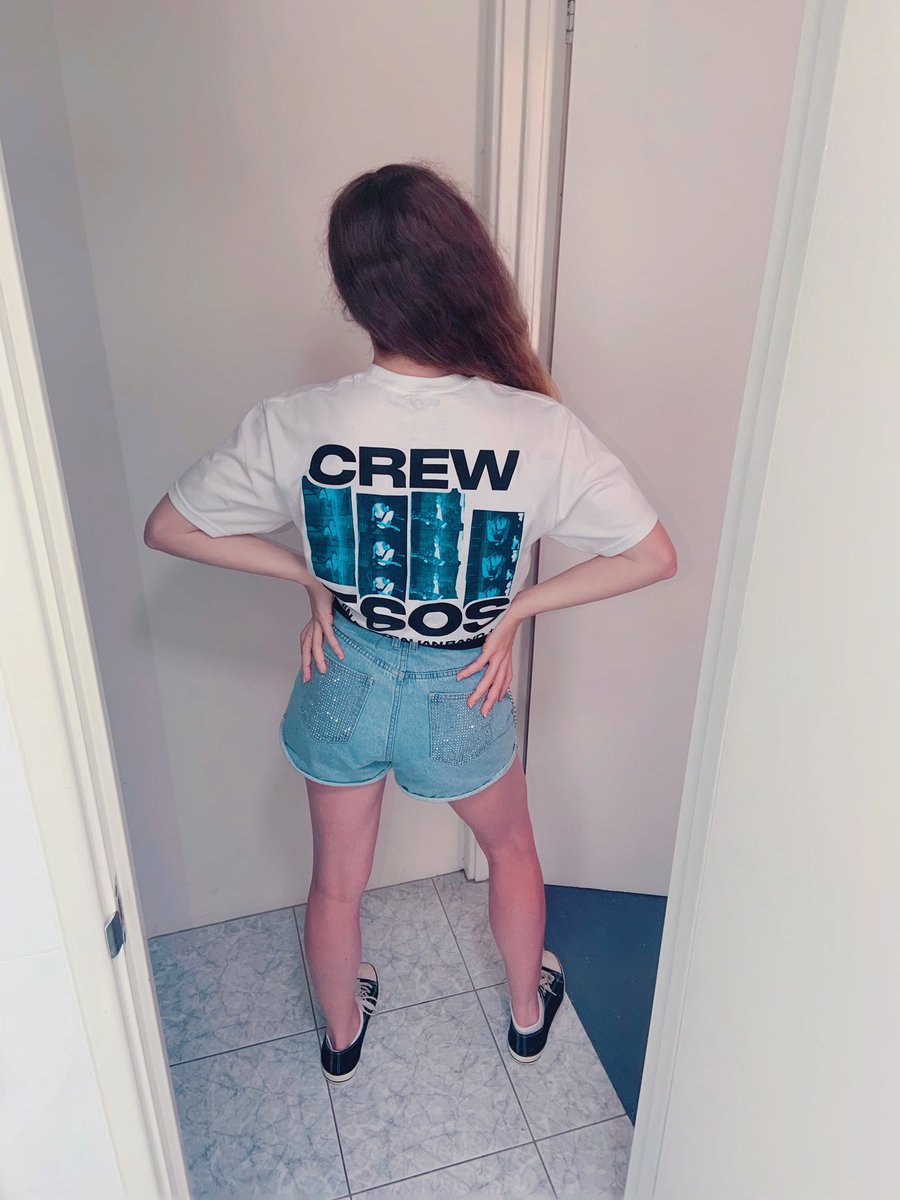 Absolutely love 5sos  @WeNeedCrew merch range! So happy to help support this in anyway I can!🥺💙 p.s the filter is hiding my tired eyes HAHA😂