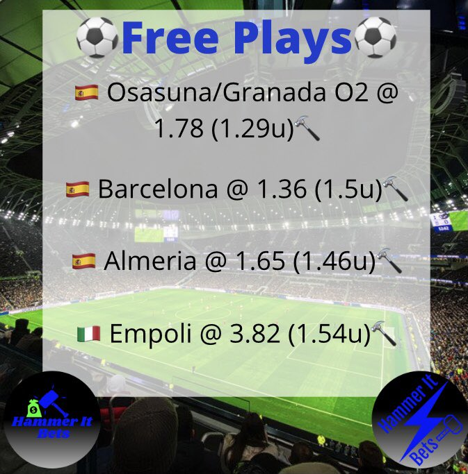 🚨FREE PLAYS🚨  We got 4 more free plays tomorrow so get this tweet to 15 likes/RTs and we'll release them 🔥🔥  #hammerit #GamblingTwitter #bettingtwitter #FreePick #freeplays #bettingtips #bettingsports #LaLiga #SegundaDivision