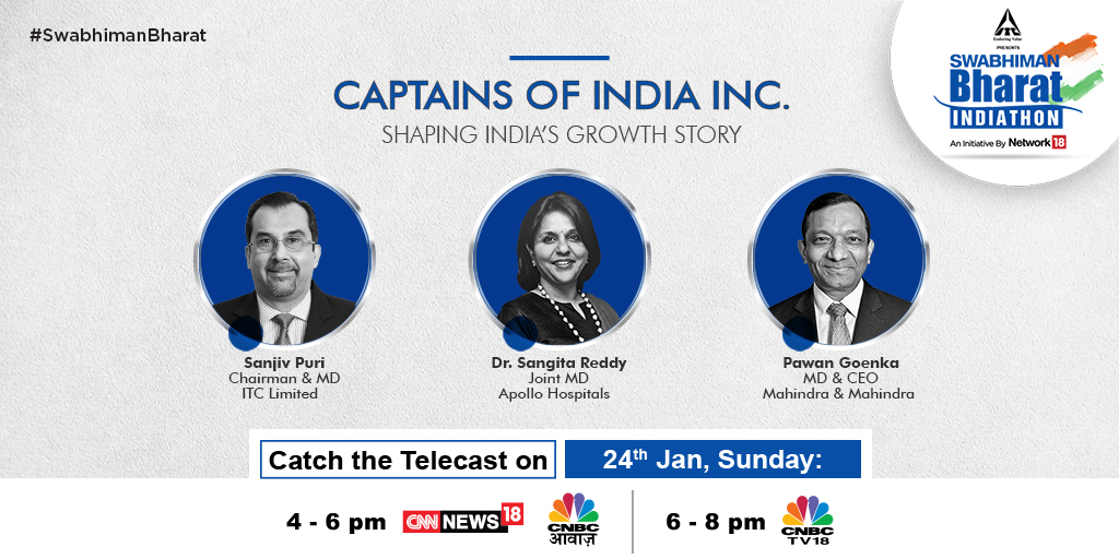 #SanjivPuri,@drsangitareddy and @GoenkaPk step into the spotlight to share their success stories of self-reliance and reveal their guiding philosophies in life on @ITCCorpCom presents #SwabhimanBharat, an initiative by @Network18Group   @CNBCTV18News @CNNnews18@CNBC_Awaaz