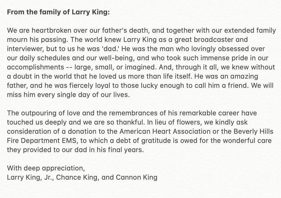 Replying to @kingsthings: Statement from the family of Larry King