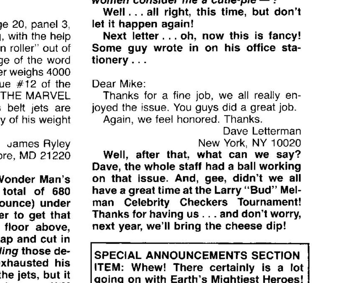 Let's finish the week off with some letters! Here we have a letter in Avengers #244 [M5643] where Dave Letterman thanks everyone at Marvel for his guest appearance in Avengers #239 [M5472]! #marvel #avengers #davidletterman