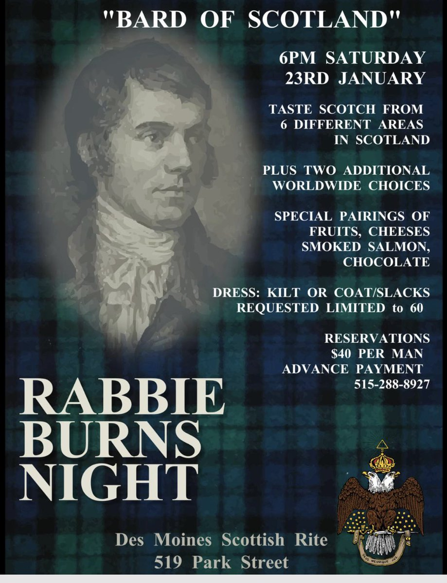 """Enjoyed celebrating Robert """"Rabbie"""" Burns Night w/ Ryan Genest & 60 Scottish Rite Masons at Des Moines Consistory. Congratulations to RYAN FENTON of Chariton; you, sir, have a well-calibrated scotch palate! Great evening w/ Rick Nahas and other many other Masons. #AuldLangSyne"""