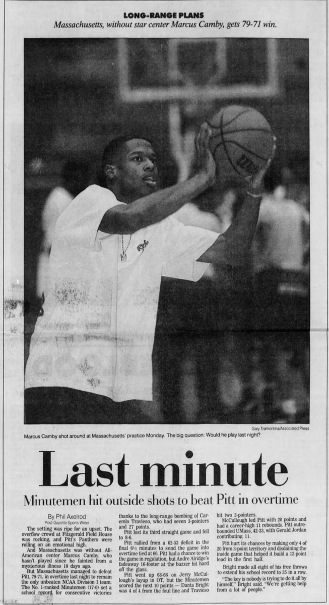 25 years ago (1/23/96): UMass beats #Pitt 79-71 in overtime. #H2P
