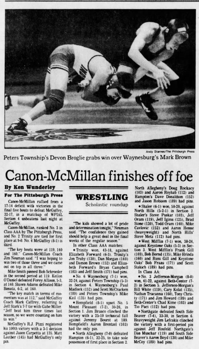 30 years ago (1/23/91): Canon-McMillan beats McGuffey, 32-17. #WPIAL
