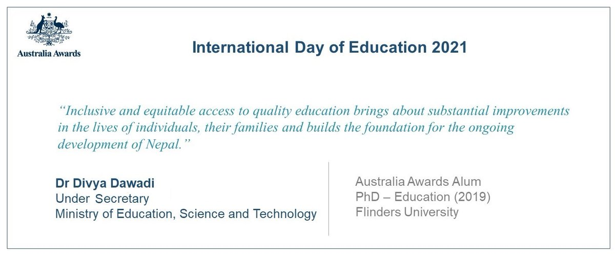 On #InternationalDayofEducation, @AustraliaAwards alum Dr Divya Dawadi highlights the value of #inclusiveeducation. Her recently published research on inclusive education is available at  @dfat @moenepal @scopeglobal @Flinders @AusGlobalAlumni #ANAA 🇦🇺 🇳🇵