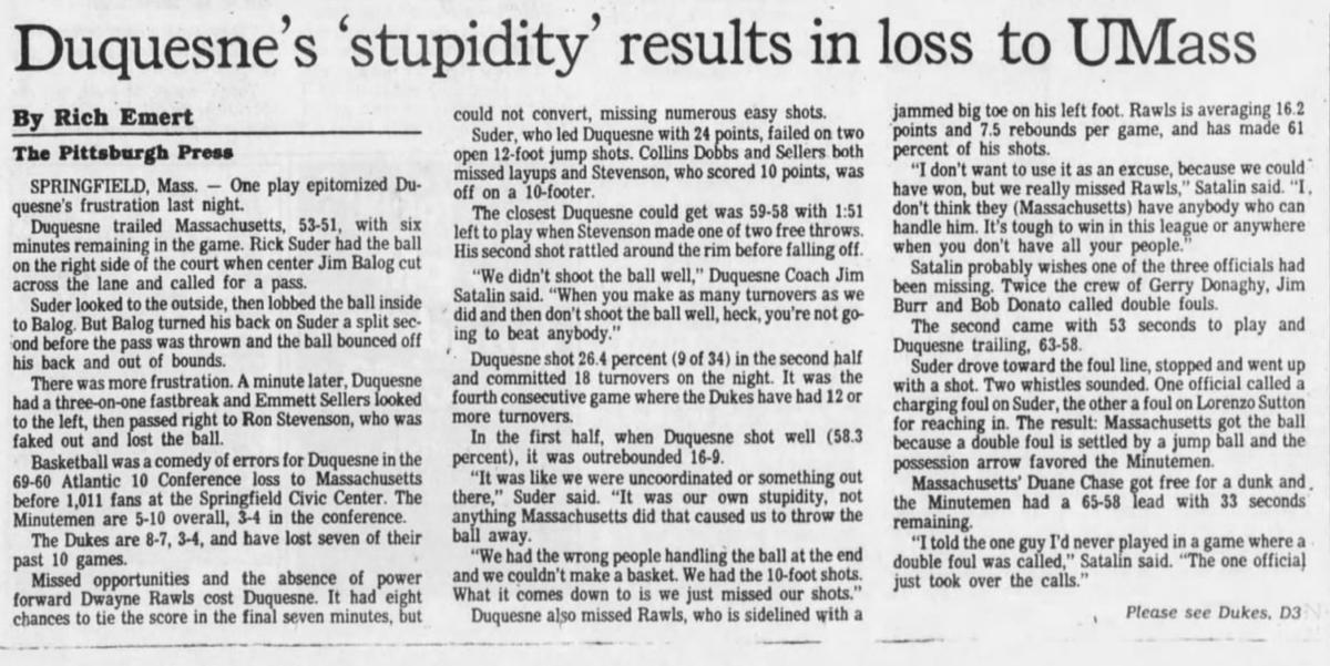 35 years ago (1/23/86): UMass beats #Duquesne, 69-60. #GoDukes