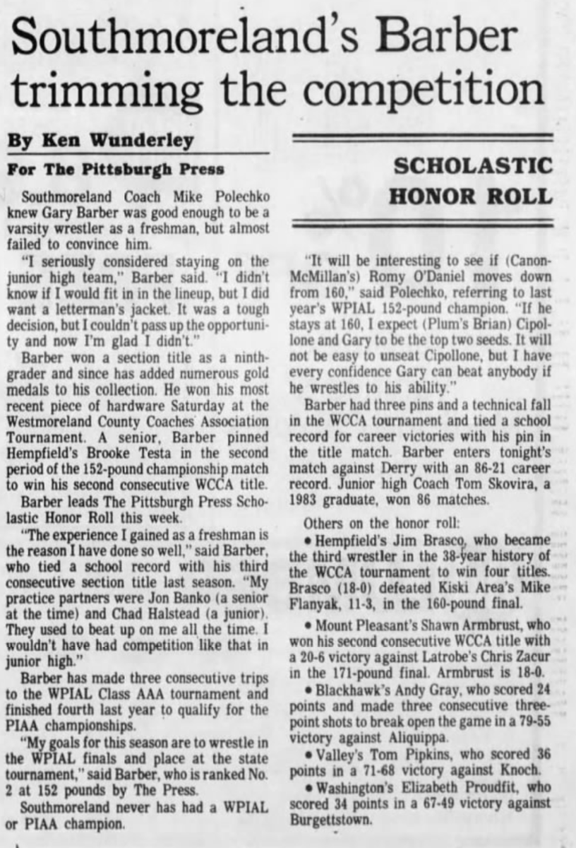 30 years ago (1/23/91): Southmoreland HS's Gary Barber heads Pittsburgh Press honor roll. #WPIAL