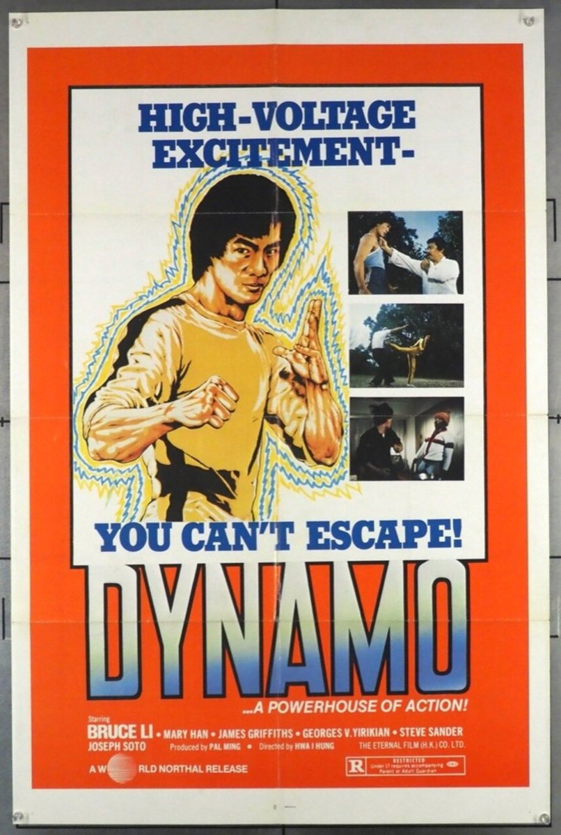 #MartialArts maven Brice Li looked a great deal like the irreplaceable Bruce Lee and voila, Dynamo, a low budget #chopsocky #kungfu thriller from 1980. Original #movieposter, $45. at #MovieArt,