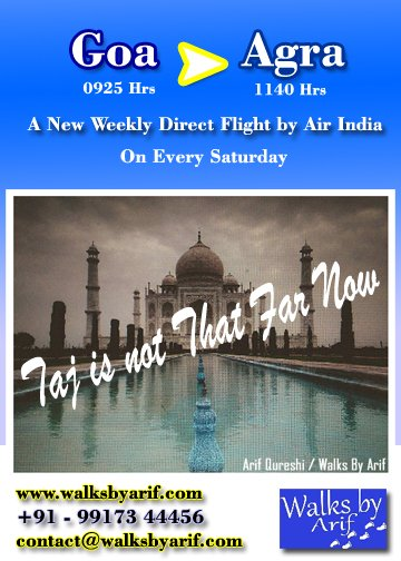 Air India has started a new Direct Flight from Goa to Agra on every Saturday. You can now plan your weekend Holidays from #Goa . Contact us for the best #Tour packages. #walksbyarif #AirIndia #AirIndiaExpress #AirIndiaflights #weekendgetaway #agratour #goadiaries #goatourism