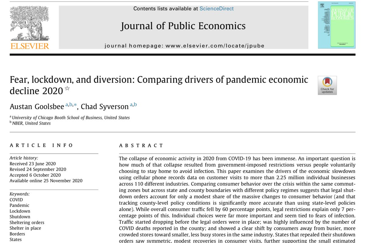 """More empirical evidence: the vast majority of the drop in economic activity in the COVID19 crisis is due to """"individuals' voluntary decisions to disengage from commerce rather than government-imposed restrictions on activity"""":  https://t.co/45pafIuRbQ https://t.co/6mD5dT9xuA"""