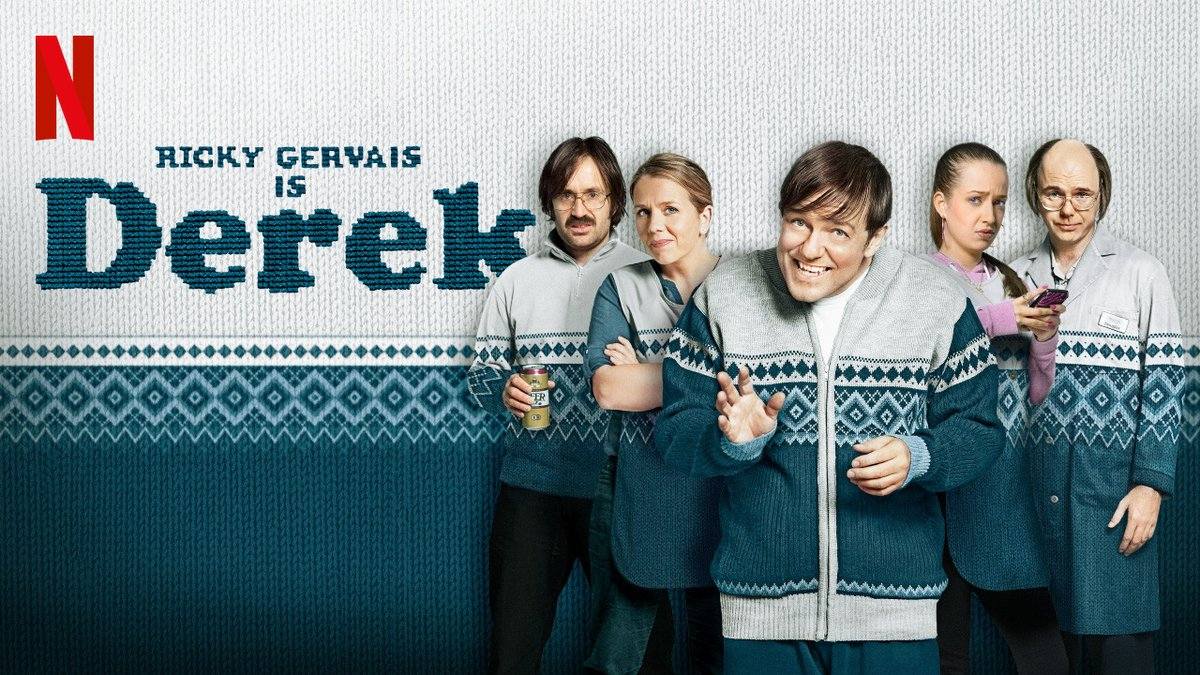 @rickygervais Can't sleep, been in a bad porphyria attack. I need a pick me up so I'll watch #Derek again. Everyone should strive to be more like Derek. The world would be a better place. 💖 He's kind, honest, & a good human w/ a Golden heart & pure intentions. Thank you Ricky.