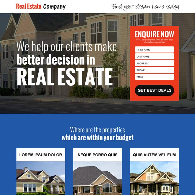 Download ready to use the best real estate company responsive landing page design from  #realestate #realestateagent #RealEstateInvesting #RealEstateMarketing #realestatelife #realestadteinvestor #realestateagents #realestatetrends #realestatenews