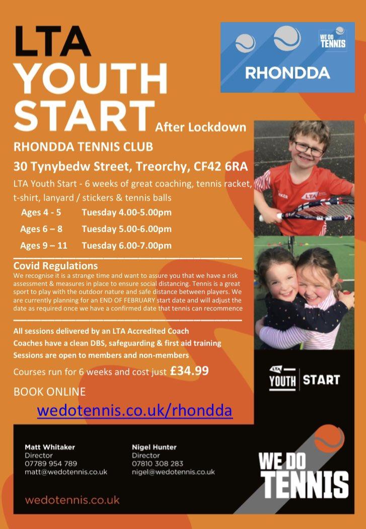 New junior tennis coaching after lockdown   Book here -   Please share   @sportwales @tenniswales @rhonddaleader @swpRCT   #Rhondda #Tennis #Coaching