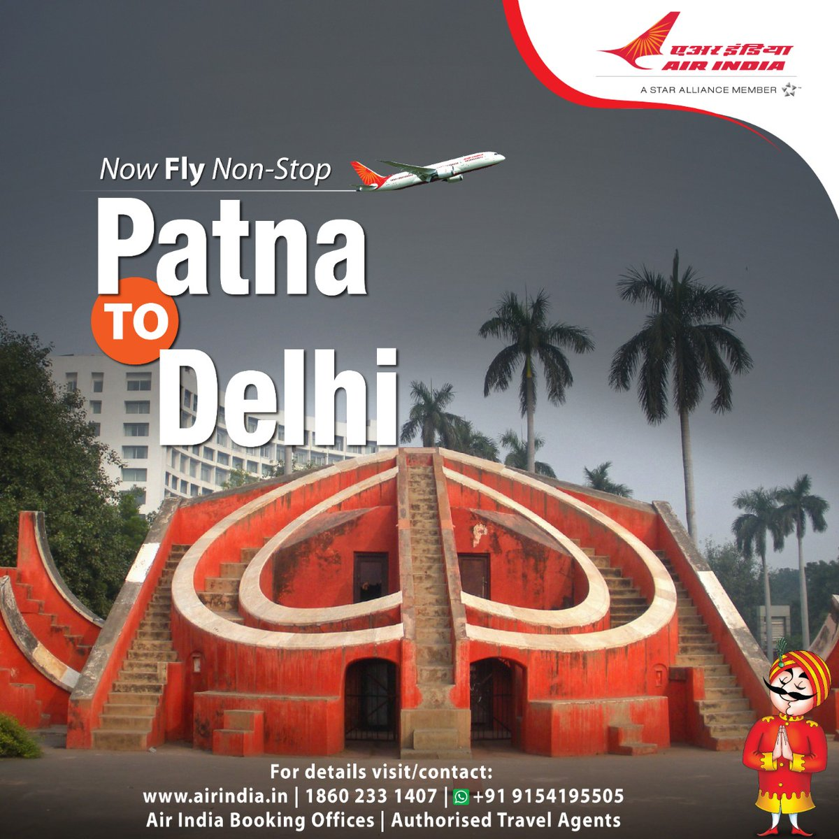 #FlyAI : Fly non-stop from Patna to Delhi.  To book seats, please visit our website