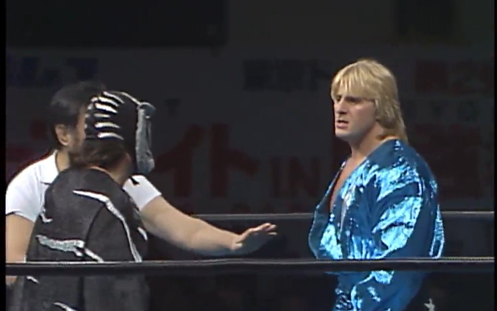 It's Monday, January 25 in Japan!  #onthisday in 1990, Black Tiger and Owen Hart went head to head in Sapporo!  Relive history with @njpwworld!    #njpw