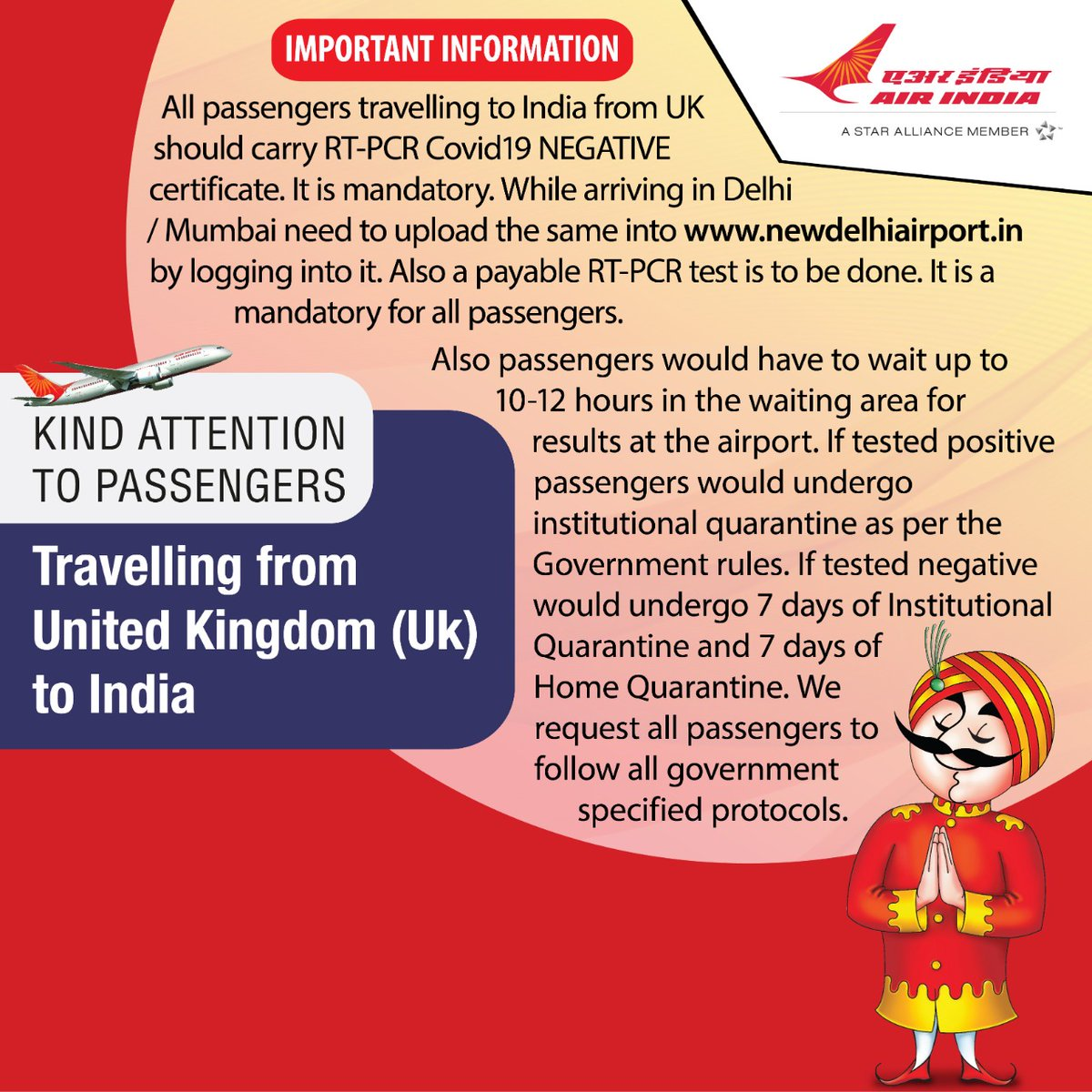 #FlyAI  : Govt of the UK has issued new guidelines for travel to and from foreign destinations. Passengers are requested to read the guidelines carefully.  For detailed Guidelines please click on