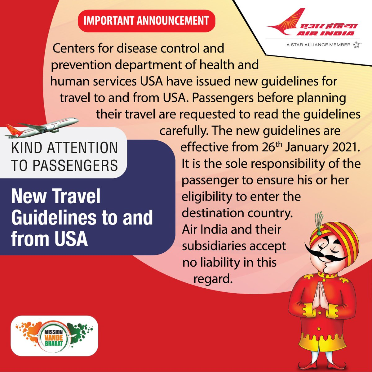 #FlyAI  : Govt of the USA has issued new guidelines for travel to and from foreign destinations. Passengers are requested to read the guidelines carefully which are are effective from 26th Jan ,'21.   For detailed Guidelines please click on