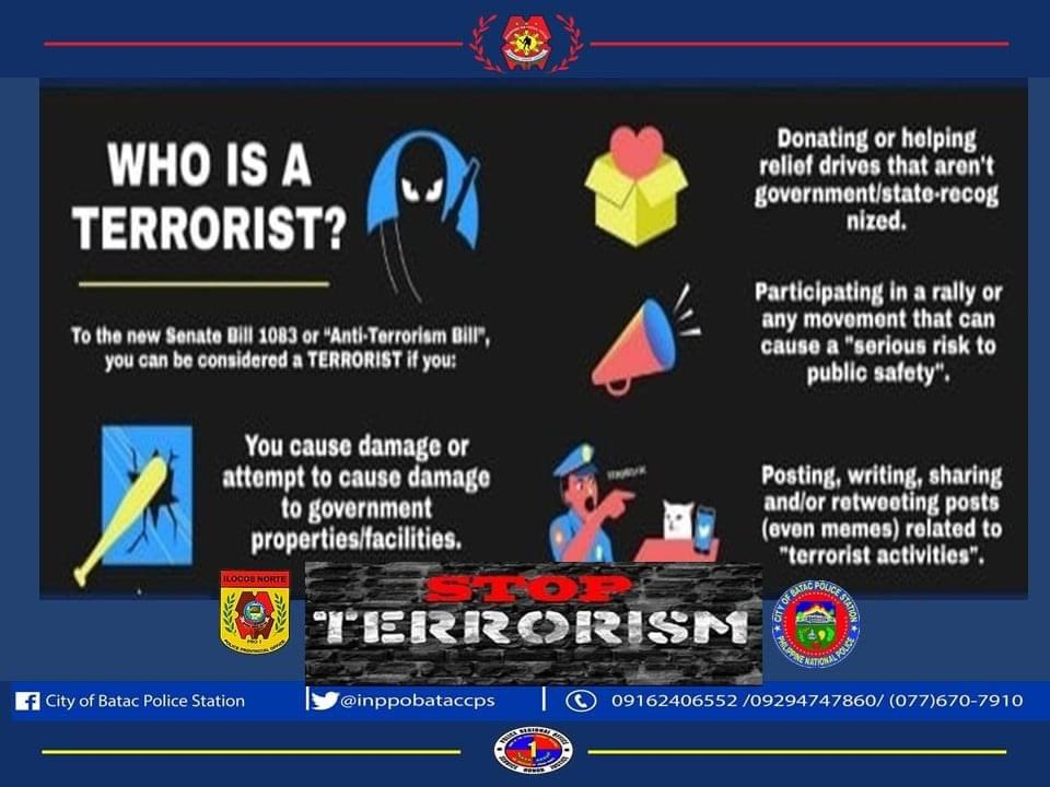 """Local PNP infographic defines the following as terrorism: - attempting to cause damage to government property - helping relief drives that aren't """"state recognized"""" - participating in a rally that can cause """"serious risk to public safety"""" - posts related to """"terrorist activities"""""""