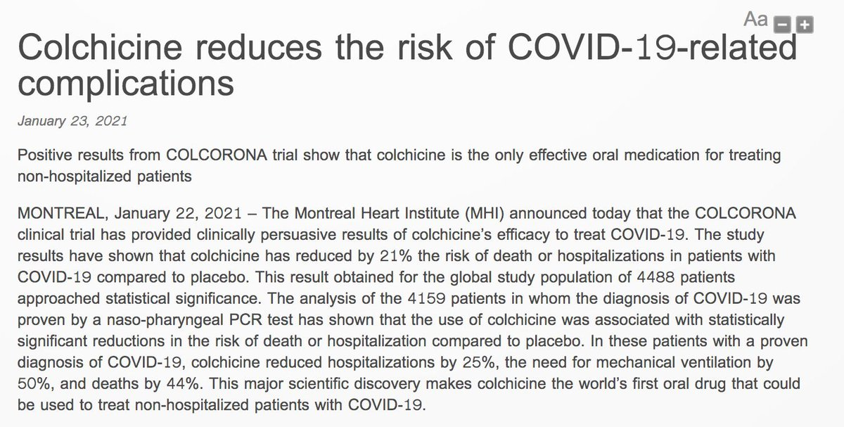 A common drug used to treat gout Colchicine is effective in treating COVID - convincing data https://t.co/zOU8ssP6S9
