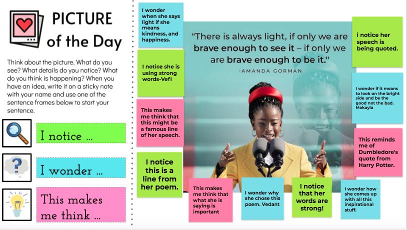 "#PictureOfTheDay with @TheAmandaGorman poem #TheHillWeClimb using ""I notice.."" ""I wonder.."" ""This makes me think.."" with @hickscanyontusd 4th graders @tustinusd #InaugurationDay #InaugurationDay2021 #AmandaGorman #Inaugurationweek #edtech #KamalaHarris #JoeBiden #amandagorman2036"