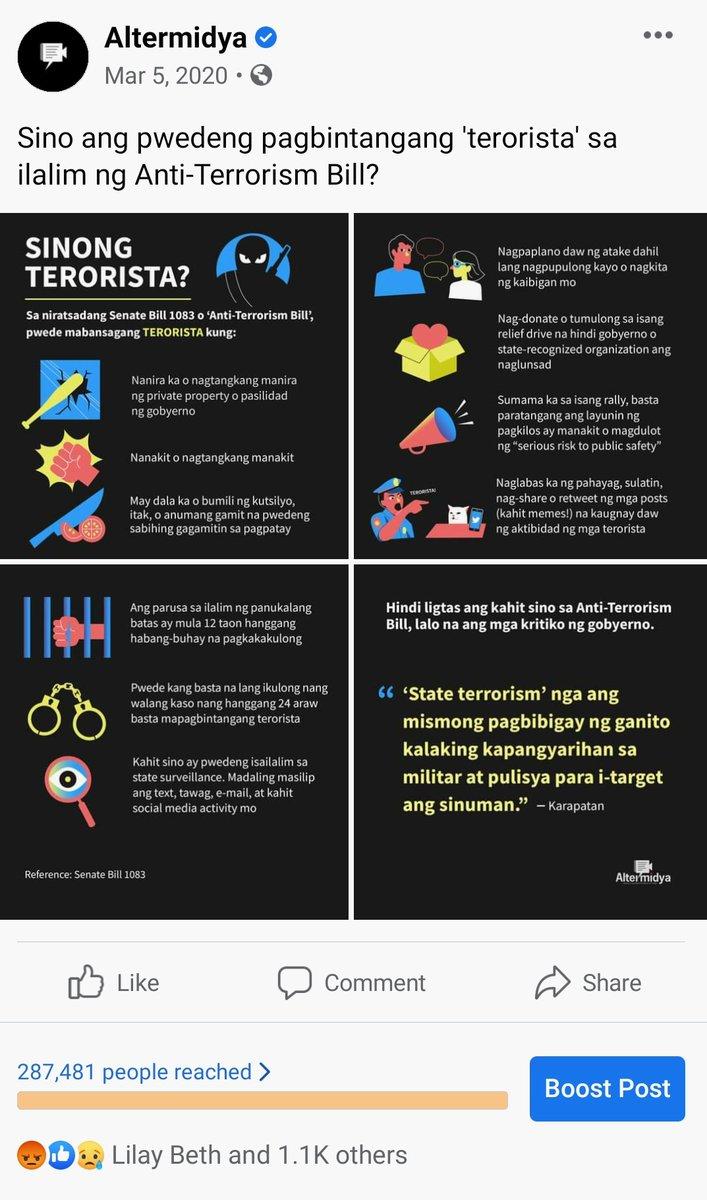 Original infogfx ay galing @altermidya. Ironic di ba? So inamin na talaga nila na gagamitin talaga sa panunupil ang Anti-Terror Law. twitter.com/atomaraullo/st…