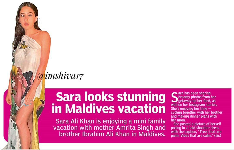 #Sara looks stunning in  Maldives vacation   #SaraAliKhan is enjoying a mini  family vacation with  mother #AmritaSingh and  brother #IbrahimAliKhan  in #Maldives ... @Saratimes95