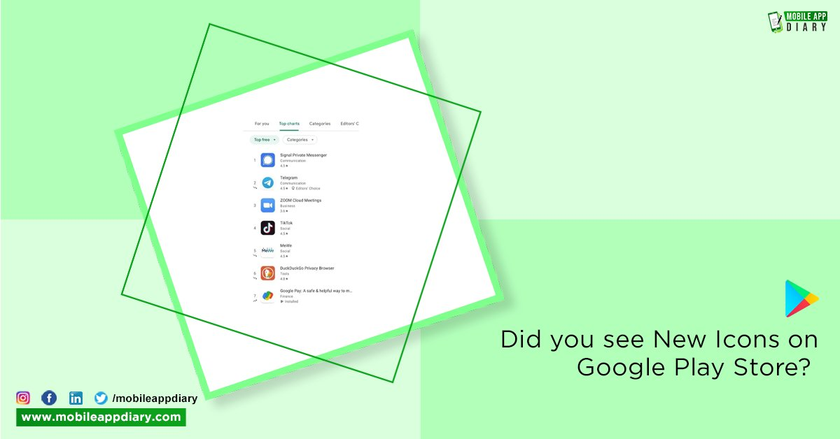 Google Play Store has introduces New Icons that show trending apps. Now, you can see a new rank change icon in its top app lists on Google Play.   #MAD #MobileAppDiary #MobileAppWorld #Applications #Technology #Android #GooglePlayStore #DigitalWorld #NewUpdates