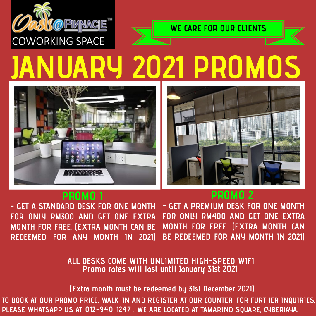 Hi everyone, we hope that you are enjoying your weekend and that you.  We are committed to helping you become productive during this MCO period by providing you with premier level work spaces. We have 2 promos are here to help you get started.  #promo #discount #smallbusiness