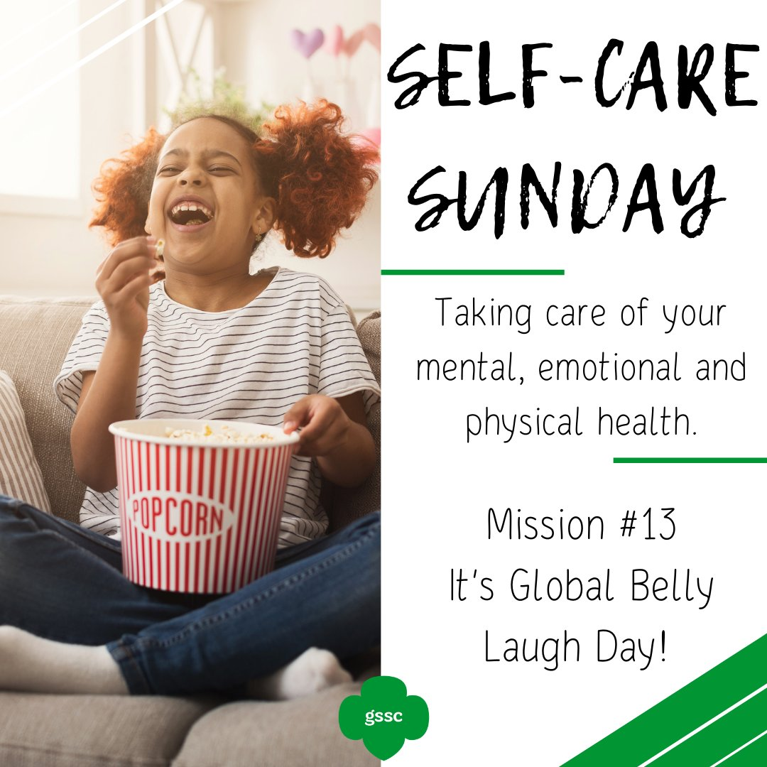 Today is a day to watch your favorite funny movie or call up your funniest friend and get in some quality laugh time.     #girlscoutsofsuffolkcounty #SelfCareSundays #mentalhealth #emotionalhealth #physicalhealth #GlobalBellyLaughDay #laughwithafriend #laughteristhebestmedicine