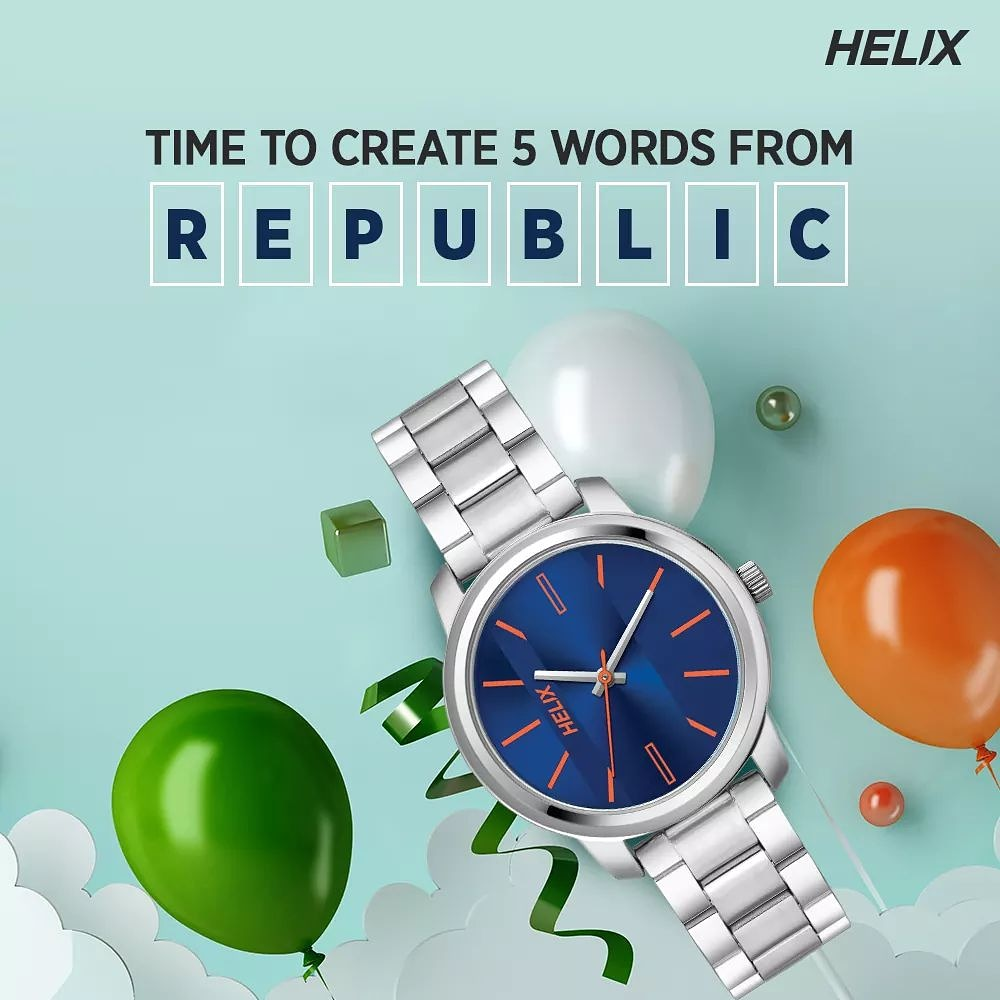 Give wings to your creative liberty. Make 5 words from 'REPUBLIC' to get a chance to win an amazing watch from Helix. Drop your answers in the comment section below. Hurry, participate now!  #RepublicDay #RepublicDay2021 #ContestAlert #GiveawayAlert #ContestIndia #HelixIndia