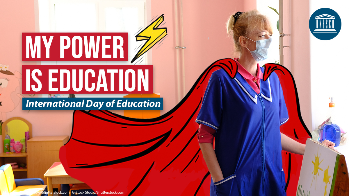 All teachers are heroes! 🦸🏽♂️🦸🏼♀️🦸🏾♂️  At least 63 million teachers were affected by the #COVID19 crisis.   On #EducationDay and every day, let's take a moment to honour & applaud their dedication & passion! 👏 👏 👏 🌍  #PowerEducation