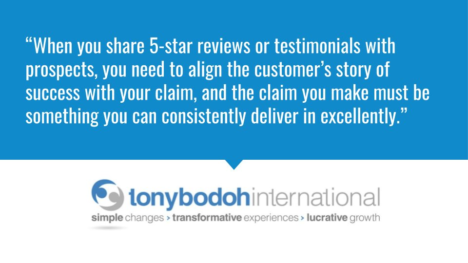 """""""When you share 5-star reviews or testimonials with prospects, you need to align the customer's story of success with your claim, and the claim you make must...""""  #smallbusiness #entrepreneur"""